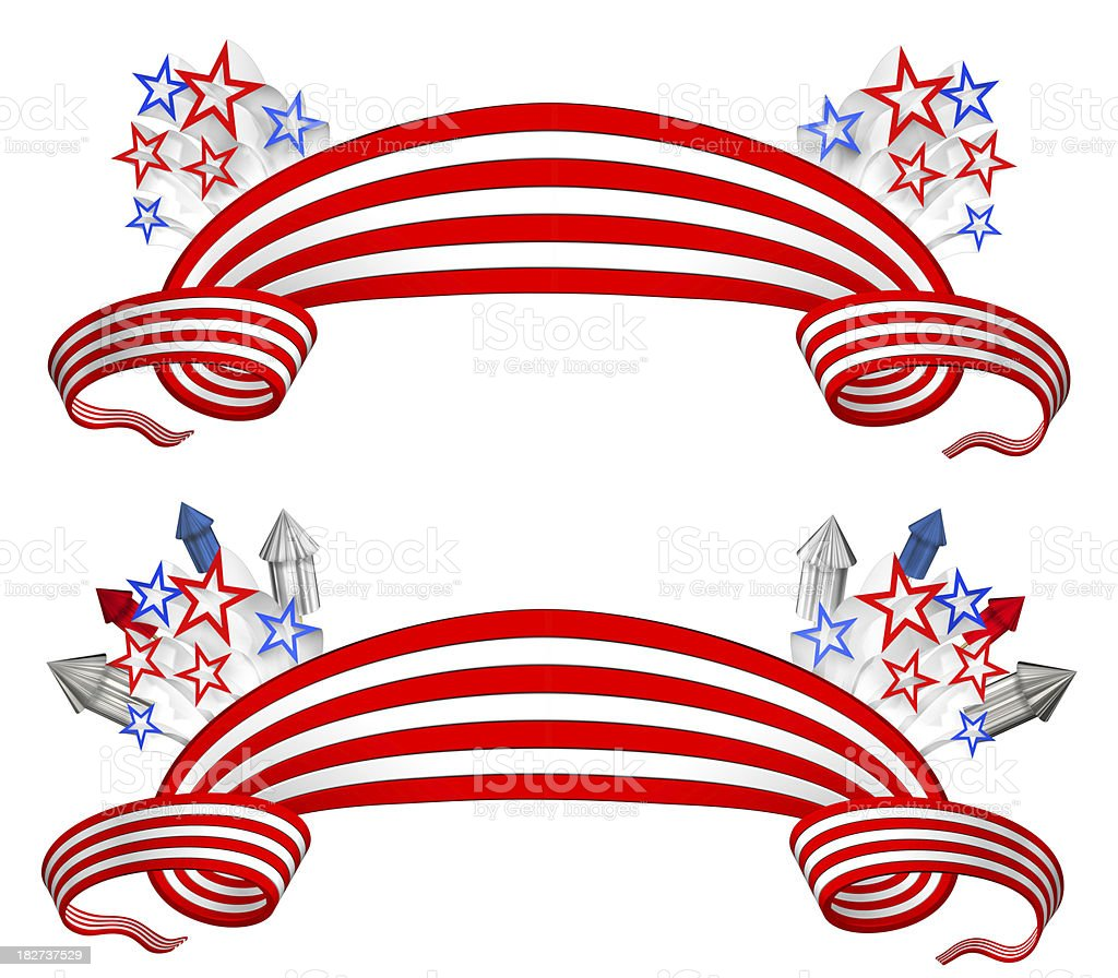 American Banners (3D) royalty-free stock photo