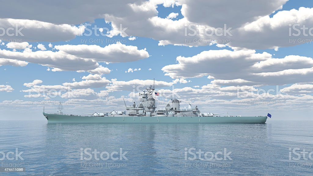 American battleship of World War 2 stock photo