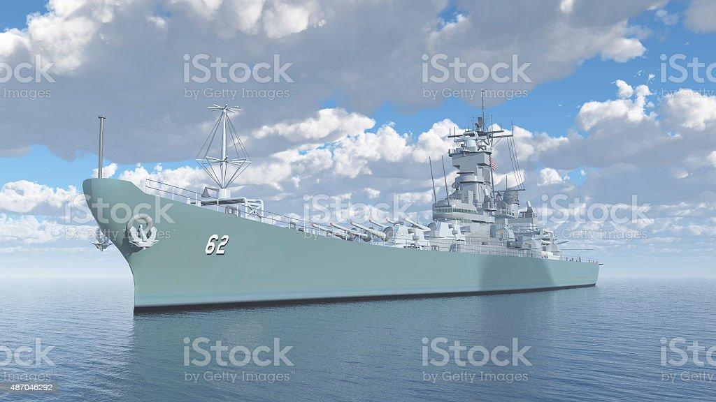 American battleship of World War II stock photo