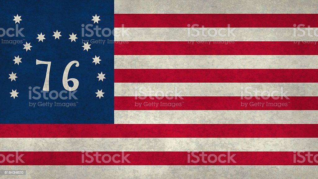 American Bennington flag with worn distressed textures stock photo