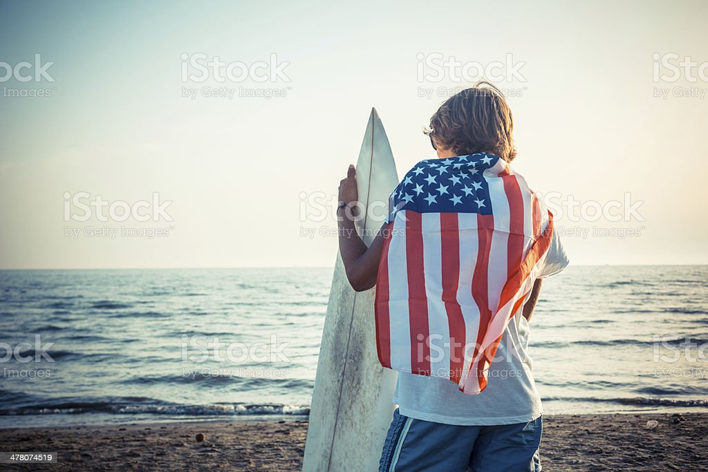 American Boy with Surf Board stock photo