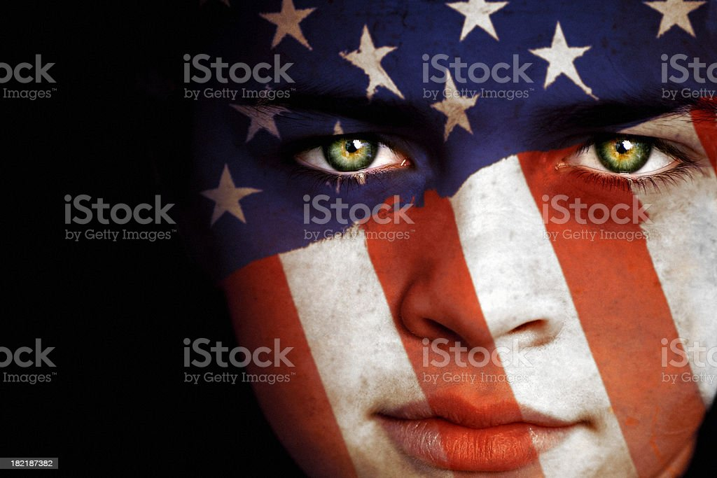 American boy with the flag of United States stock photo