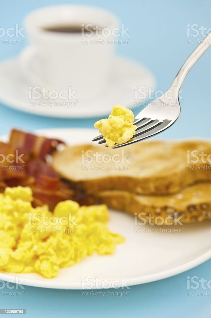 American breakfast, bacon and scrambled egg royalty-free stock photo