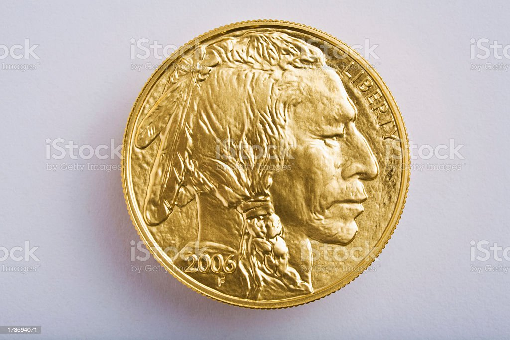 American Buffalo 24-karat pure gold bullion United States coin royalty-free stock photo