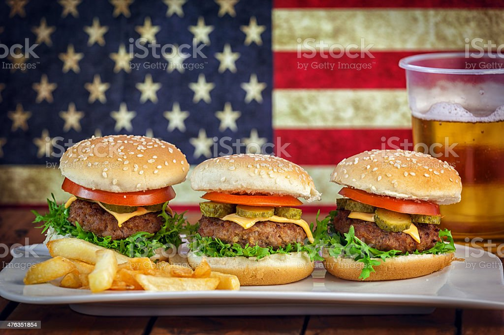 American Burger and a Glass of Beer stock photo