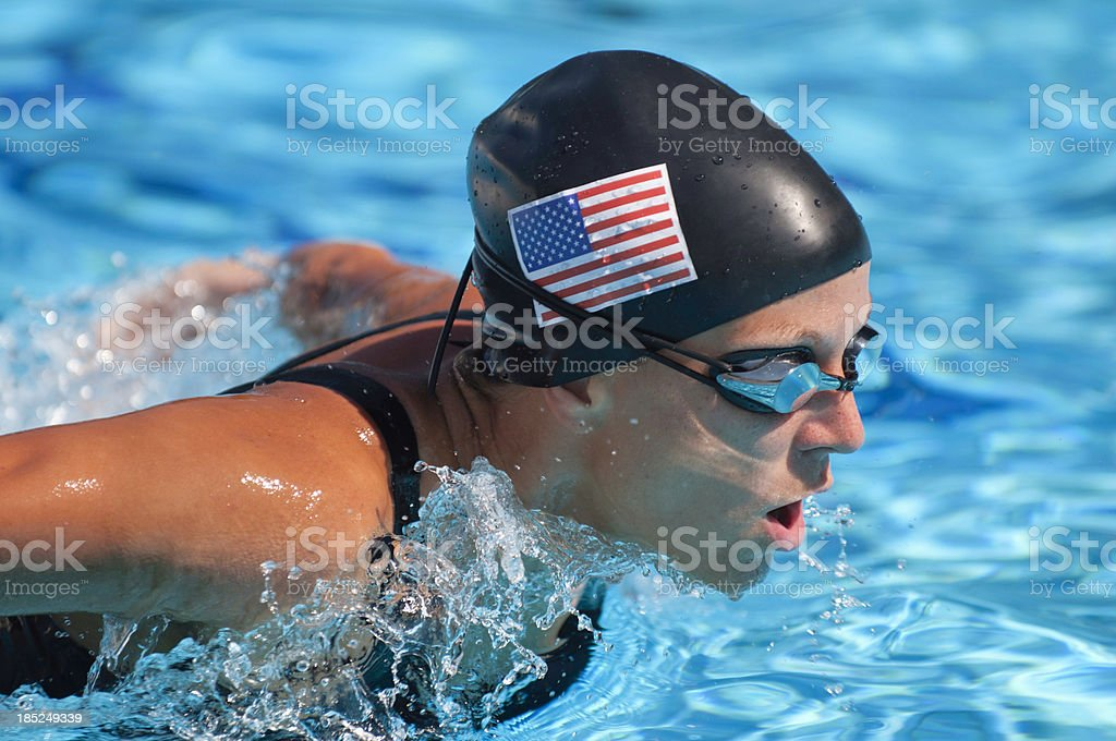 American butterfly style swimmer stock photo