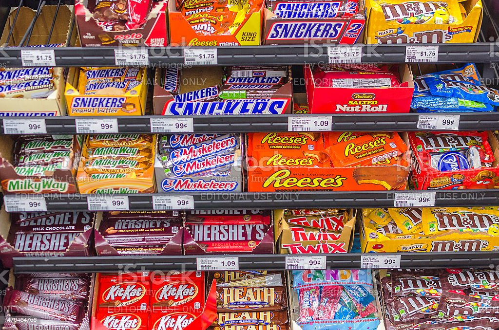 American Candy Selection in Supermarket stock photo