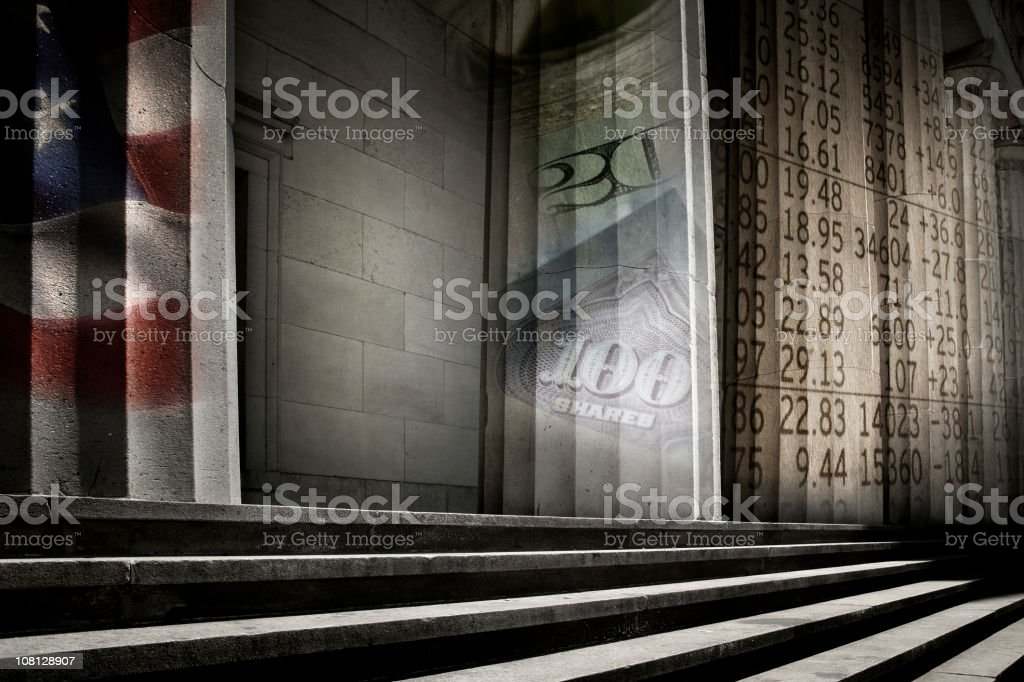 American Capital Building with Financial Symbols stock photo