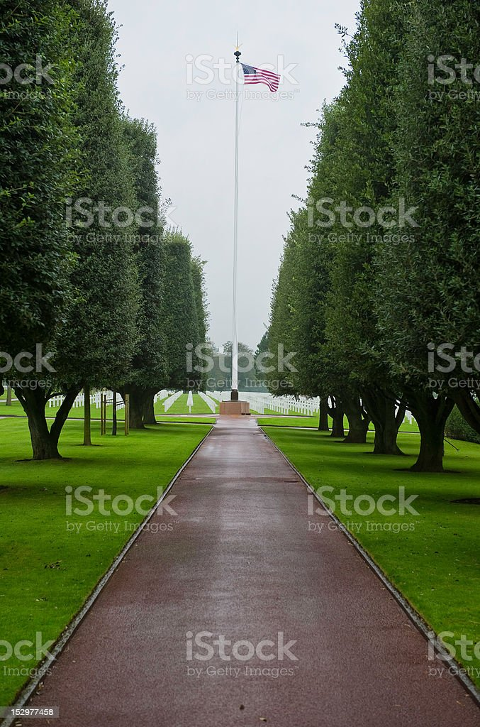American Cemetery At Normandy Beach, France royalty-free stock photo
