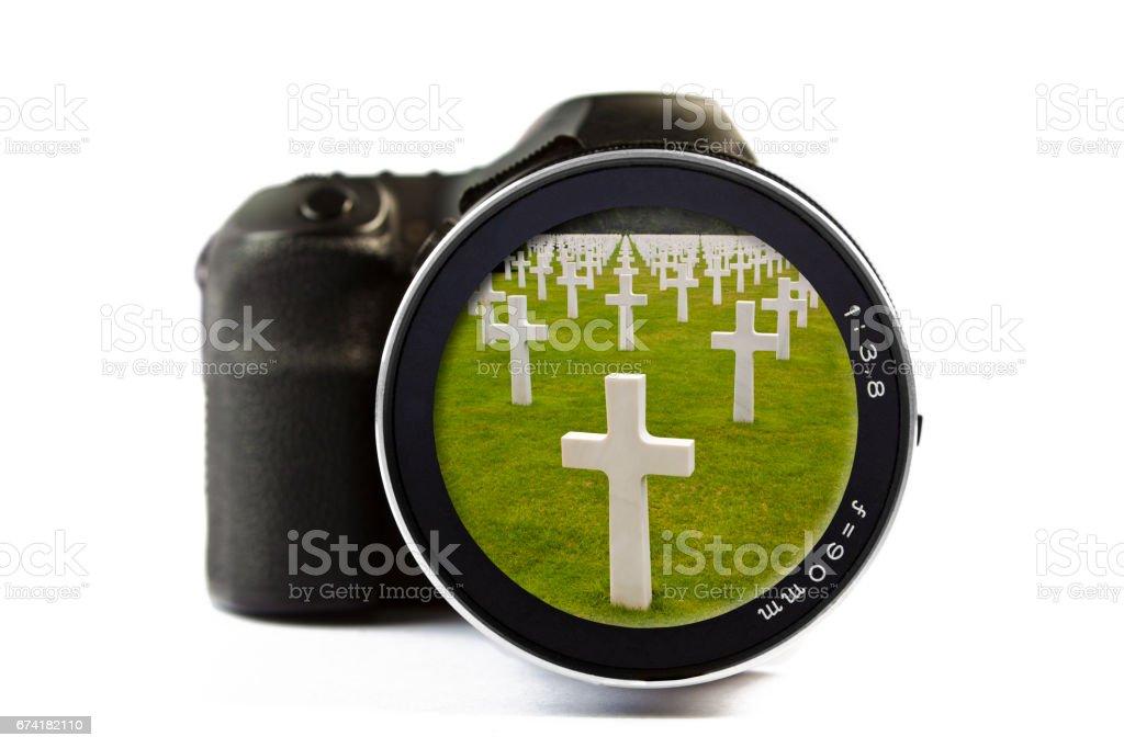 American Cemetery in Normandy Seen Through a Lens of a Camera stock photo