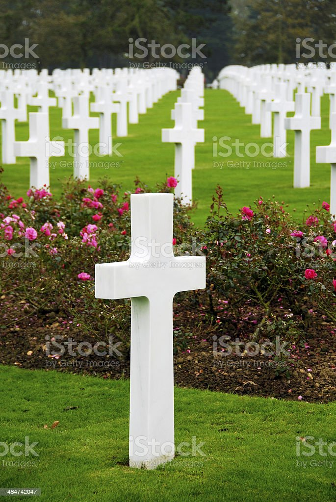 American cemetery near Omaha Beach royalty-free stock photo