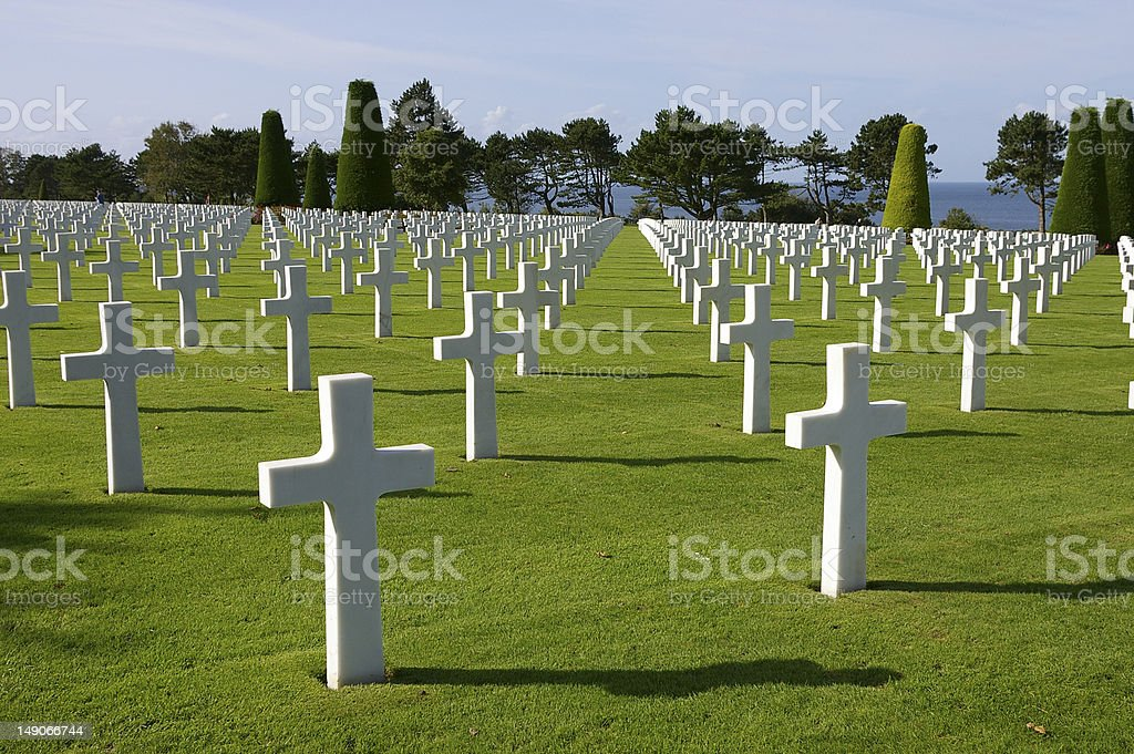 American cemetery with sea stock photo