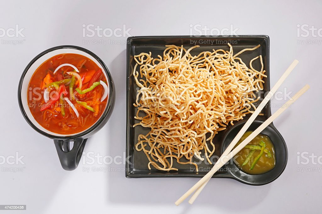 American Chopsuey or chop suey on deep-fried noodles stock photo