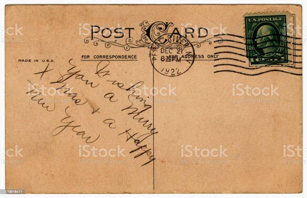American Christmas greeting postcard stock photo