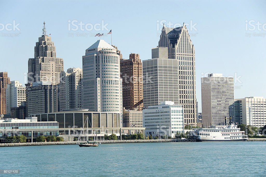 American city skyline and waterfront stock photo