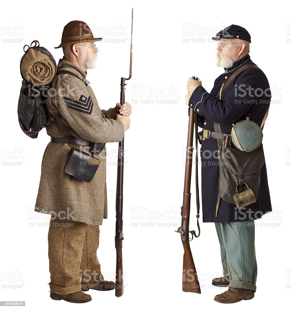 American Civil War - Brothers facing off. royalty-free stock photo