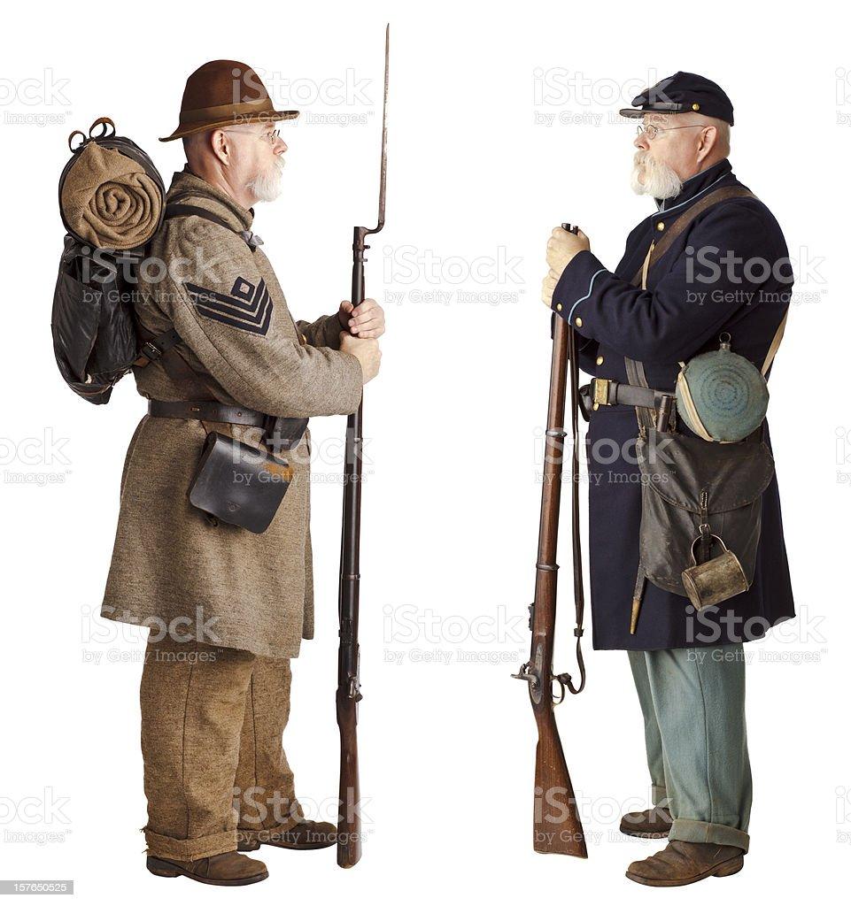 American Civil War - Brothers facing off. stock photo