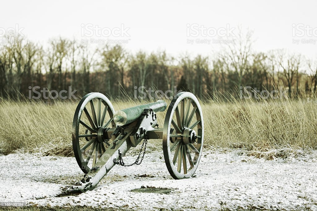 American Civil War Cannon at Gettysburg Battlefield in Winter royalty-free stock photo