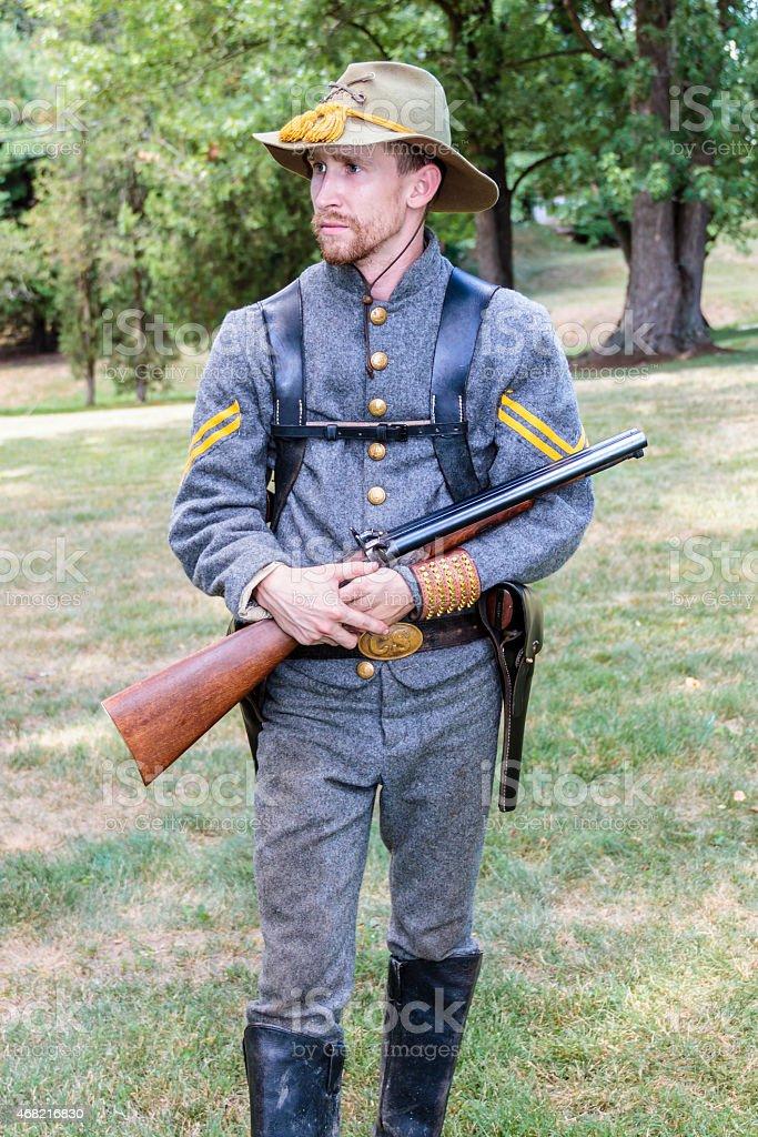 American Civil War Confederate Cavalryman stock photo