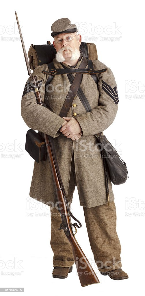 American Civil War Confederate Soldier. Isolated on White royalty-free stock photo
