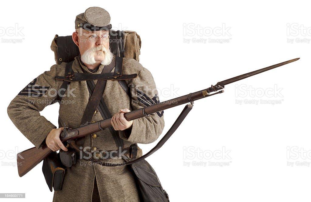 American Civil War Confederate Soldier. stock photo