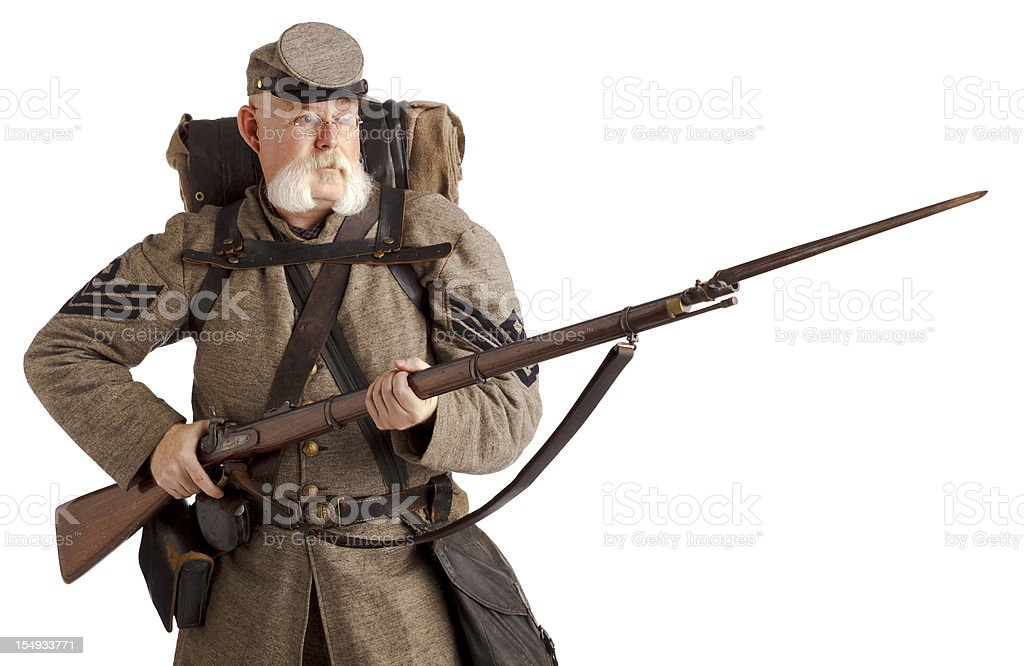 American Civil War Confederate Soldier. stock photo
