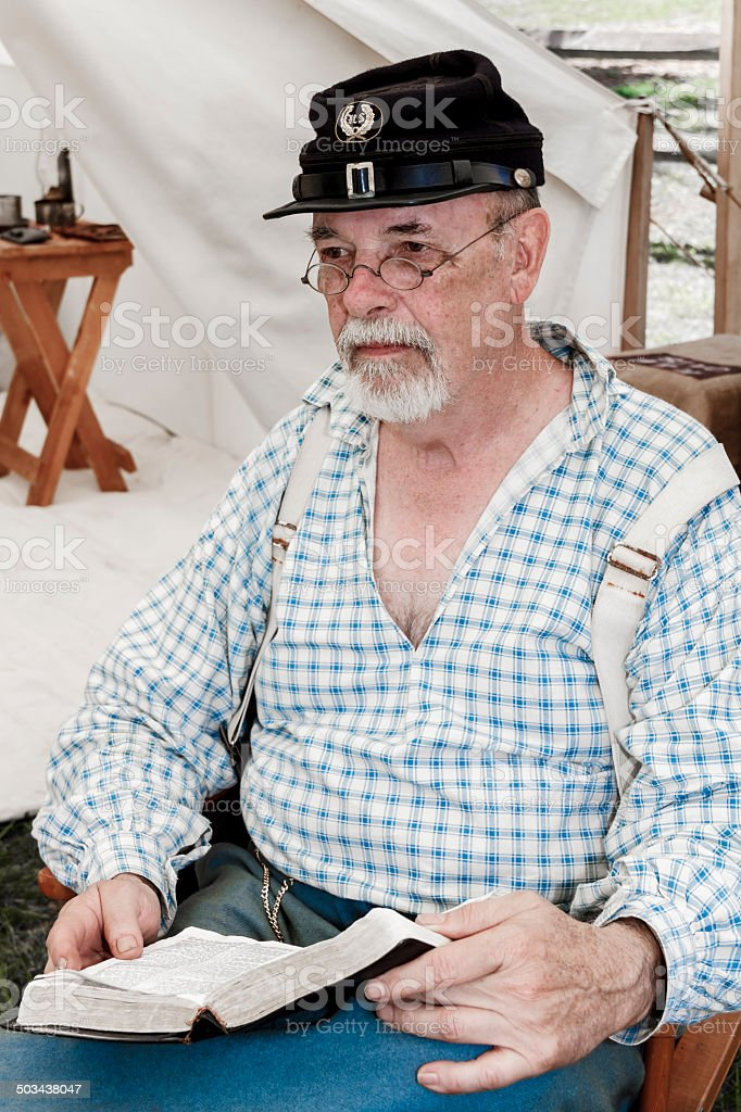 American Civil War Preacher Holding a Bible stock photo