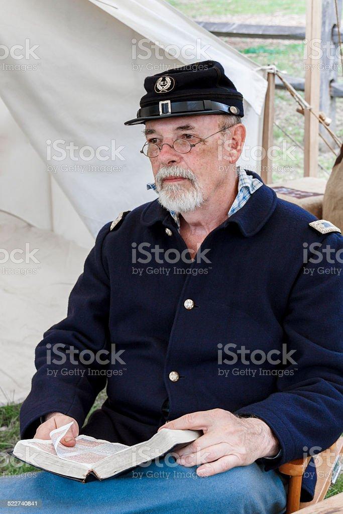 American Civil War Preacher Studying His Bible stock photo