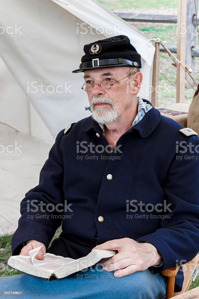 American Civil War Preacher Studying His Bible stock photo