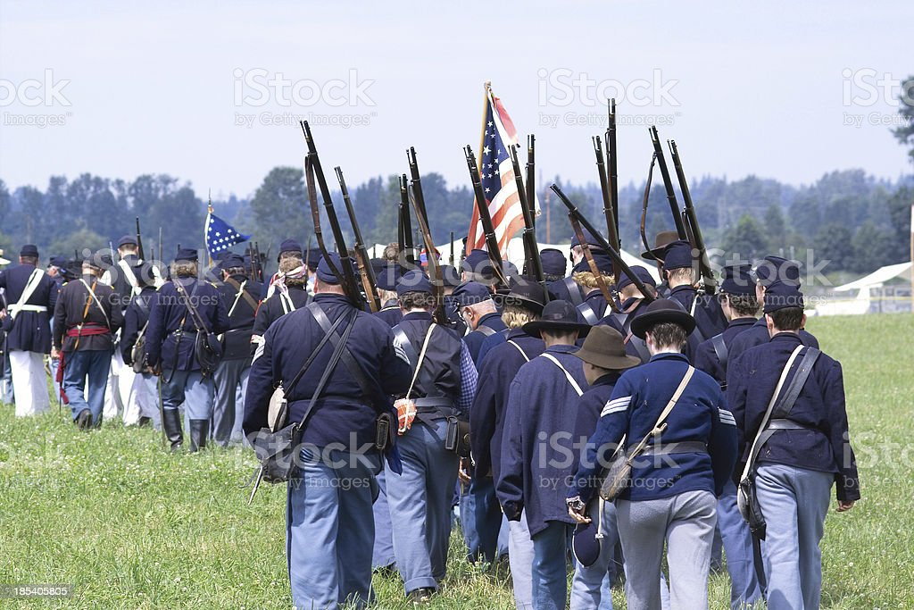 American CIvil War Reenactment - Soldiers on Foot stock photo