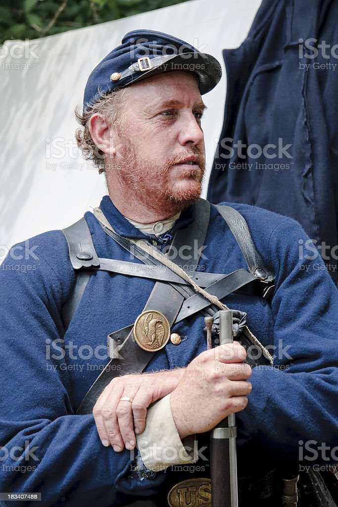American Civil War Soldier Leaning on Rifle stock photo