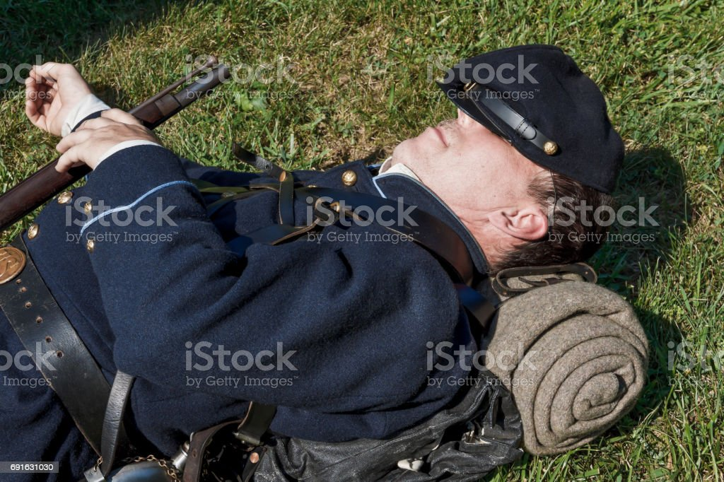 American Civil War Union Soldier Catching Some Sleep Between Battles stock photo