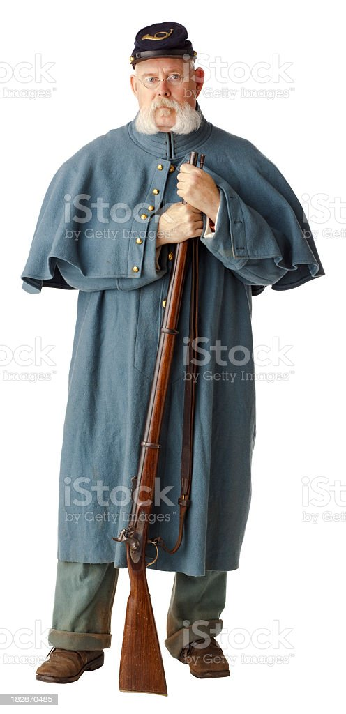 American Civil War Union Soldier in Greatcoat, Isolated on White. stock photo