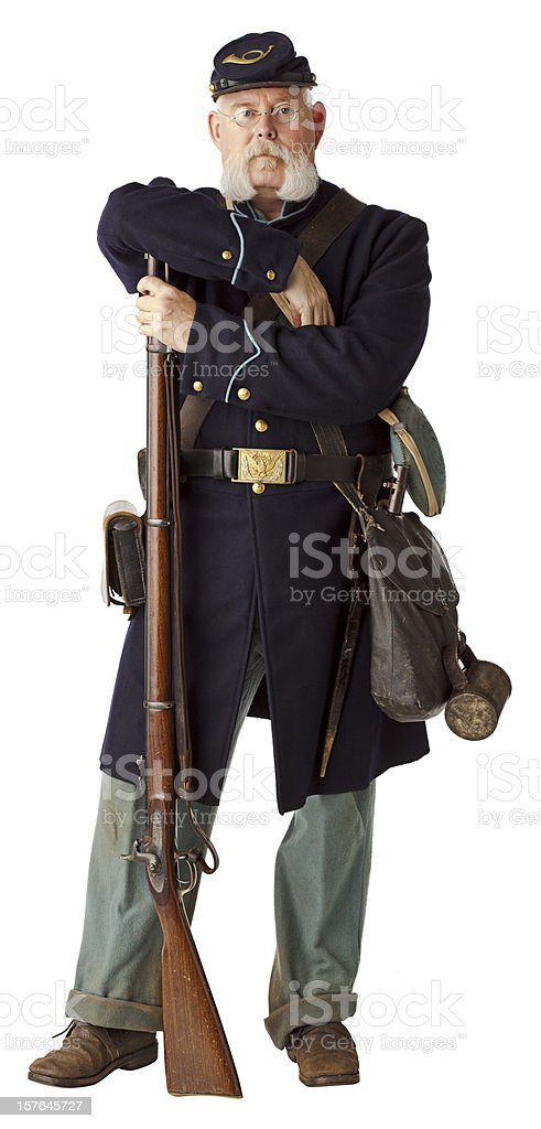 American Civil War Union Soldier, Isolated on White. stock photo