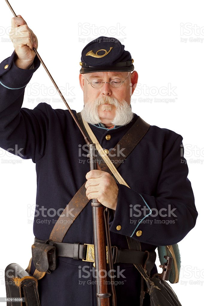 American Civil War Union Soldier Loading Rifle. stock photo