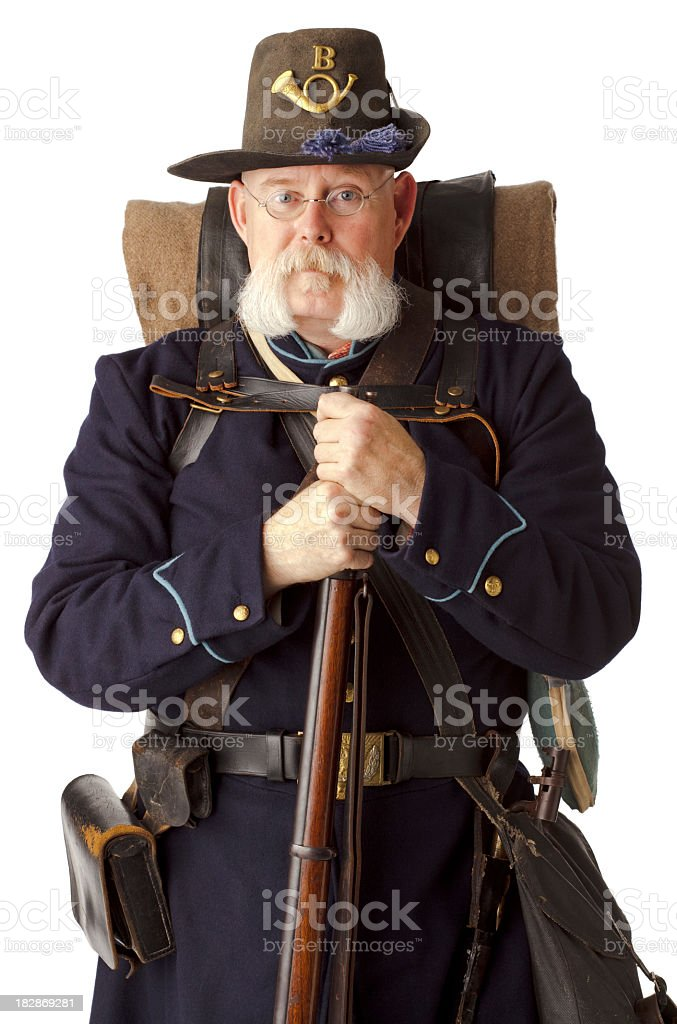 American Civil War Union Soldier on White background. stock photo