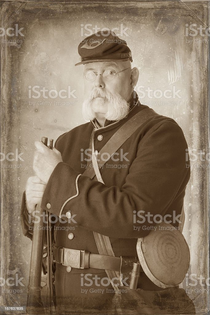 American Civil War Union Soldier. Sepia Toned to look old. stock photo