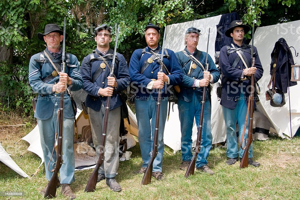 American Civil War Union Soldiers Standing at Attention stock photo
