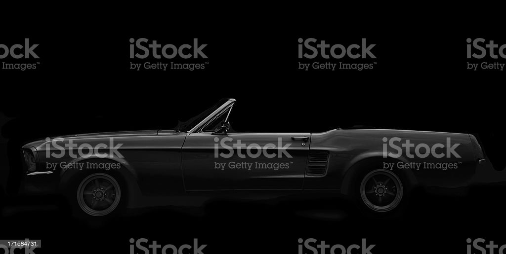 American Classic Car, 1960 Ford Mustang Convertible, Black and White stock photo
