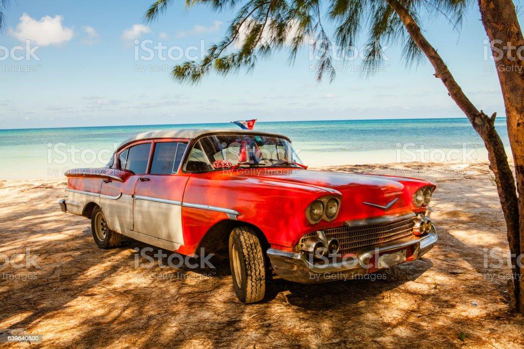 American classic car on the beach Cayo Jutias stock photo