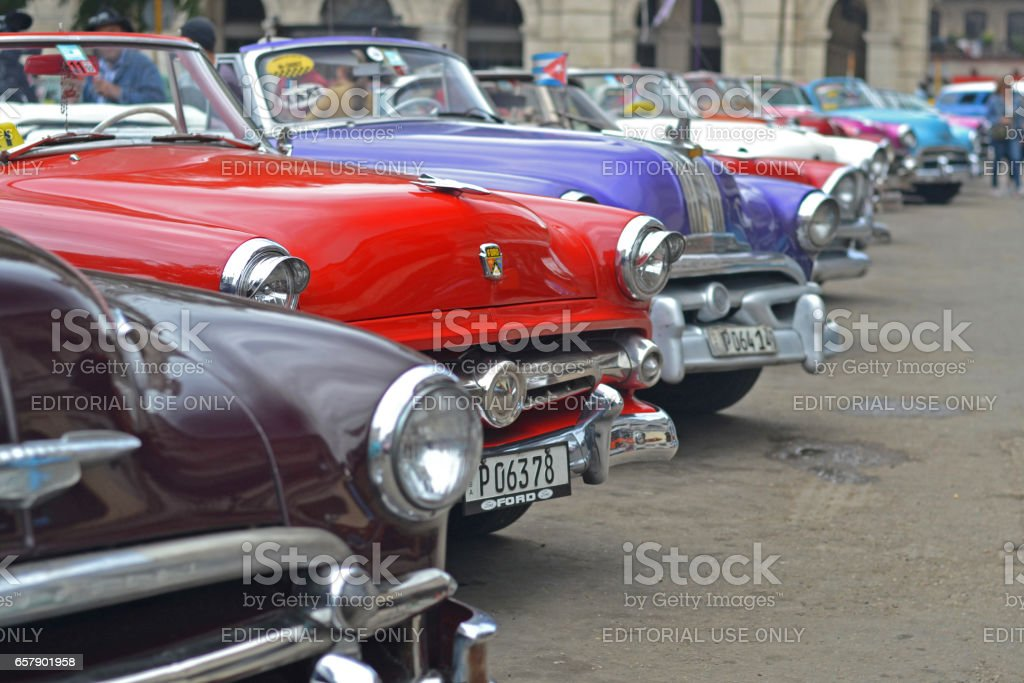 American classic cars in a row stock photo
