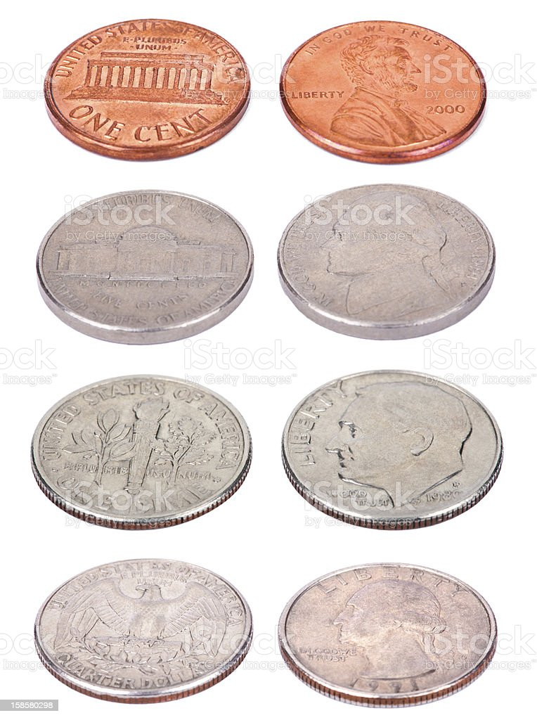 American Coins - High Angle royalty-free stock photo