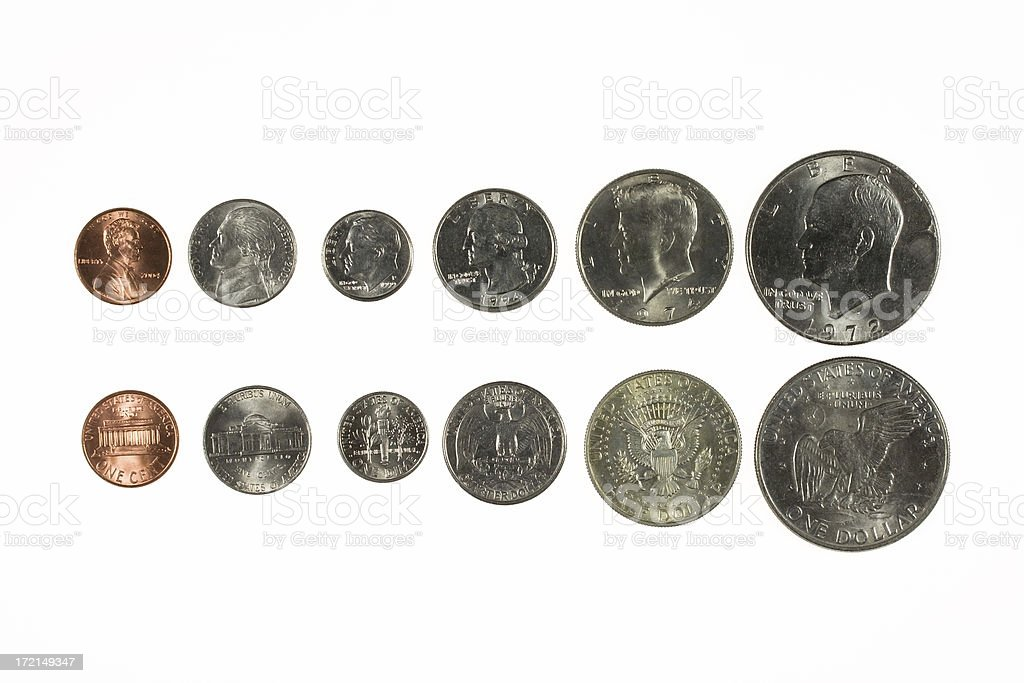 American Coins in a Row stock photo