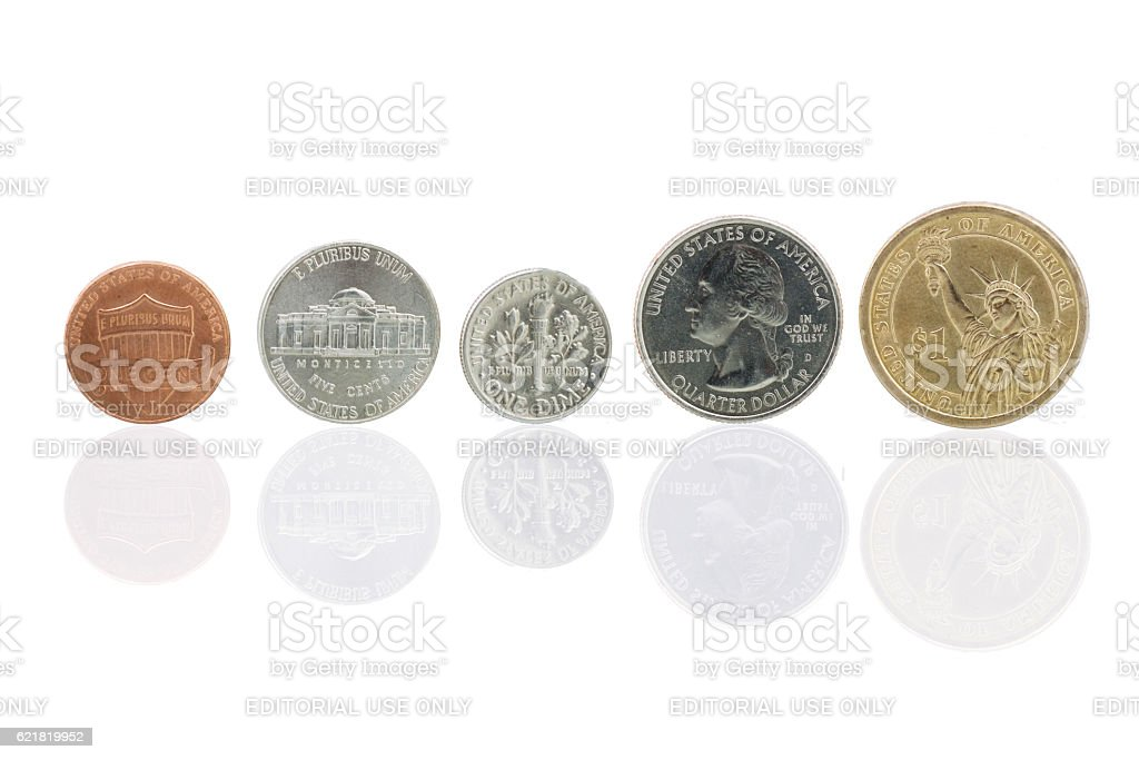American coins raging from lowest to highest amount stock photo