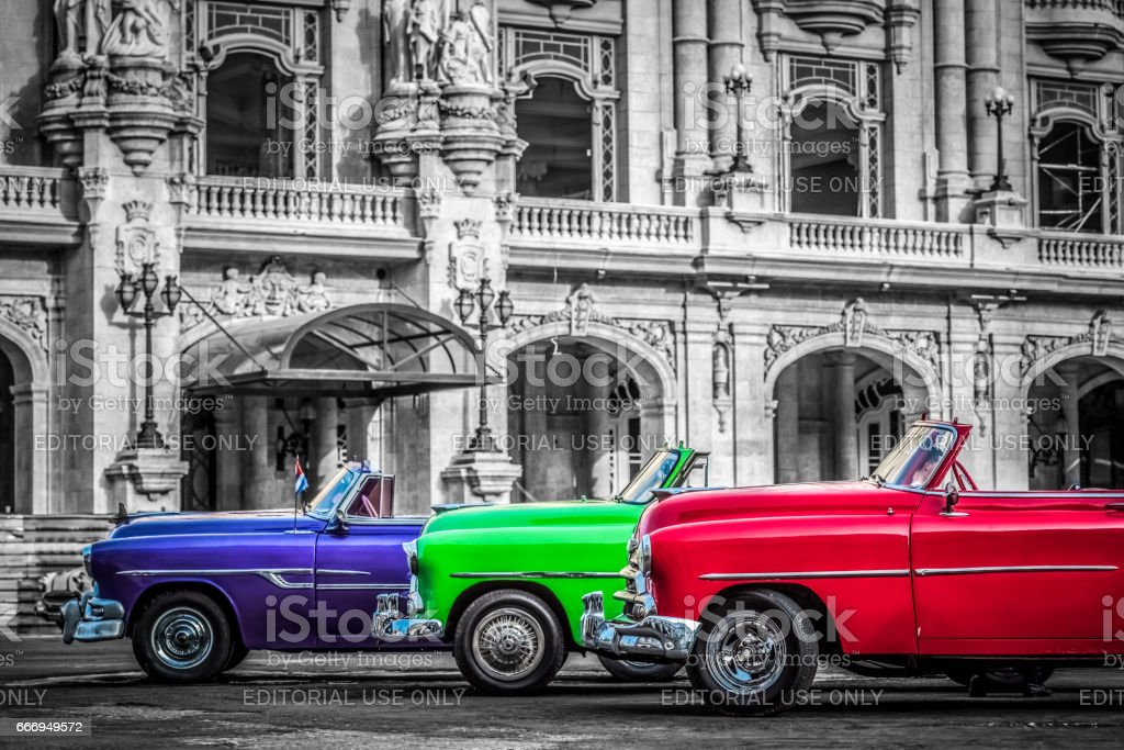American convertible vintage cars in Havana Cuba stock photo
