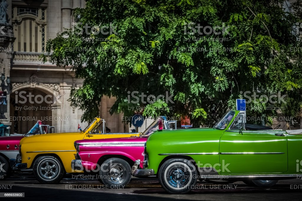 American convertible vintage cars in Havana Cuba with vignette stock photo