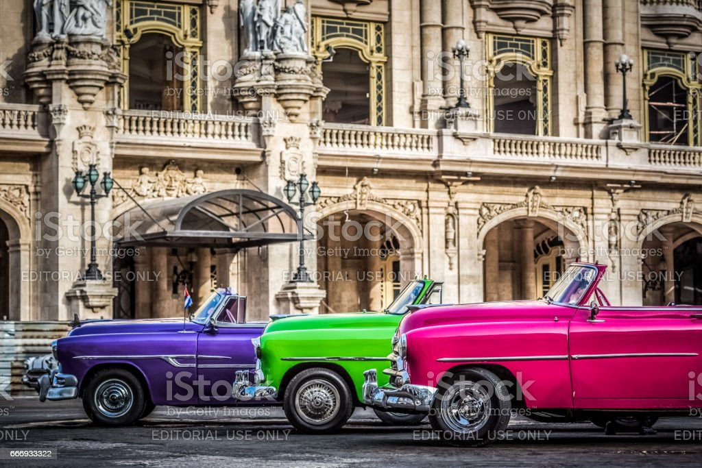 American convertible vintage cars parked in Havana Cuba stock photo