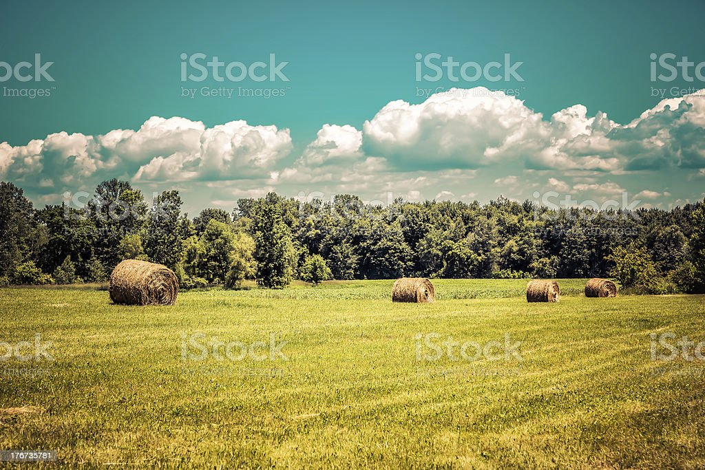 American countryside against sky stock photo
