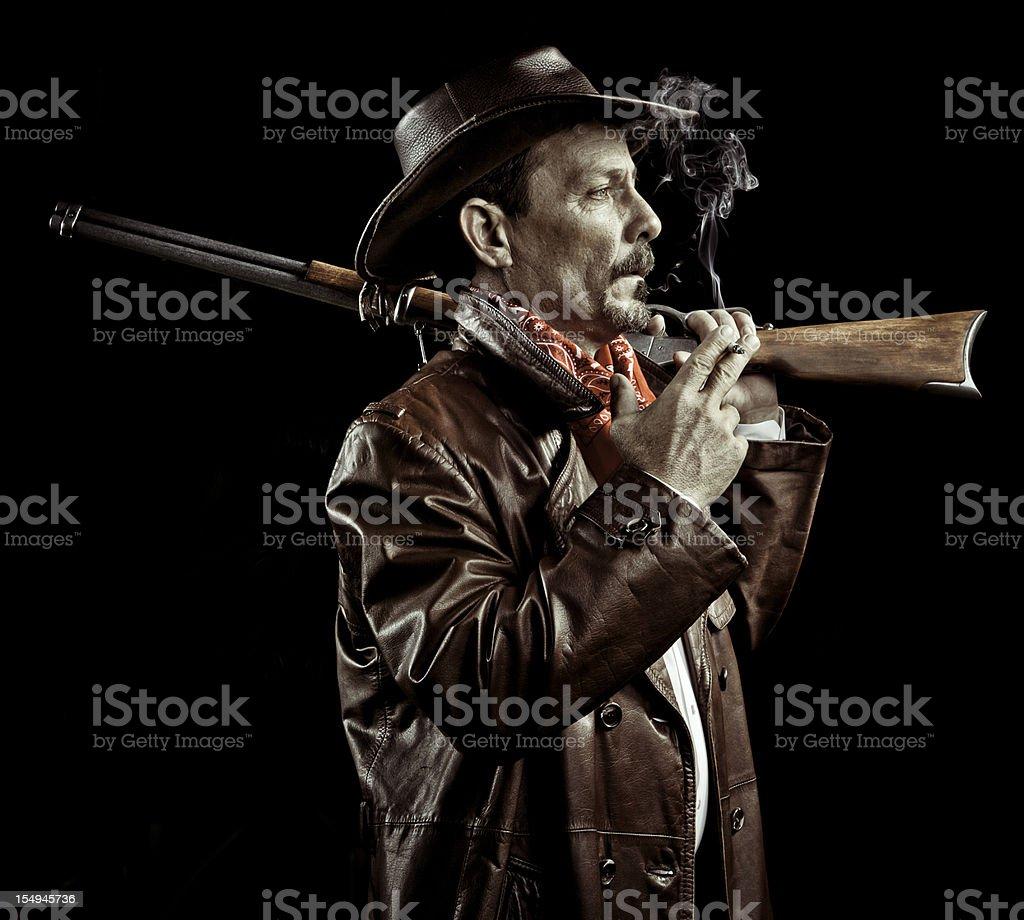 american cowboy smoking royalty-free stock photo