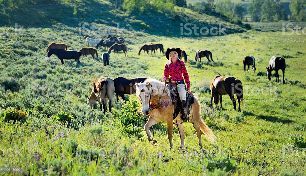 American Cowgirl Riding The Range stock photo
